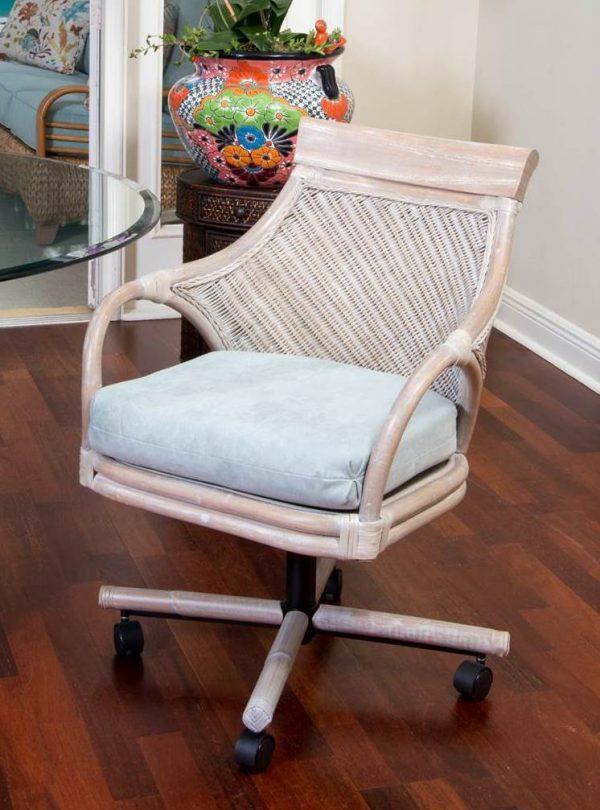 Bermuda Tilt Swivel Caster Chair  Rustic Driftwood Finish