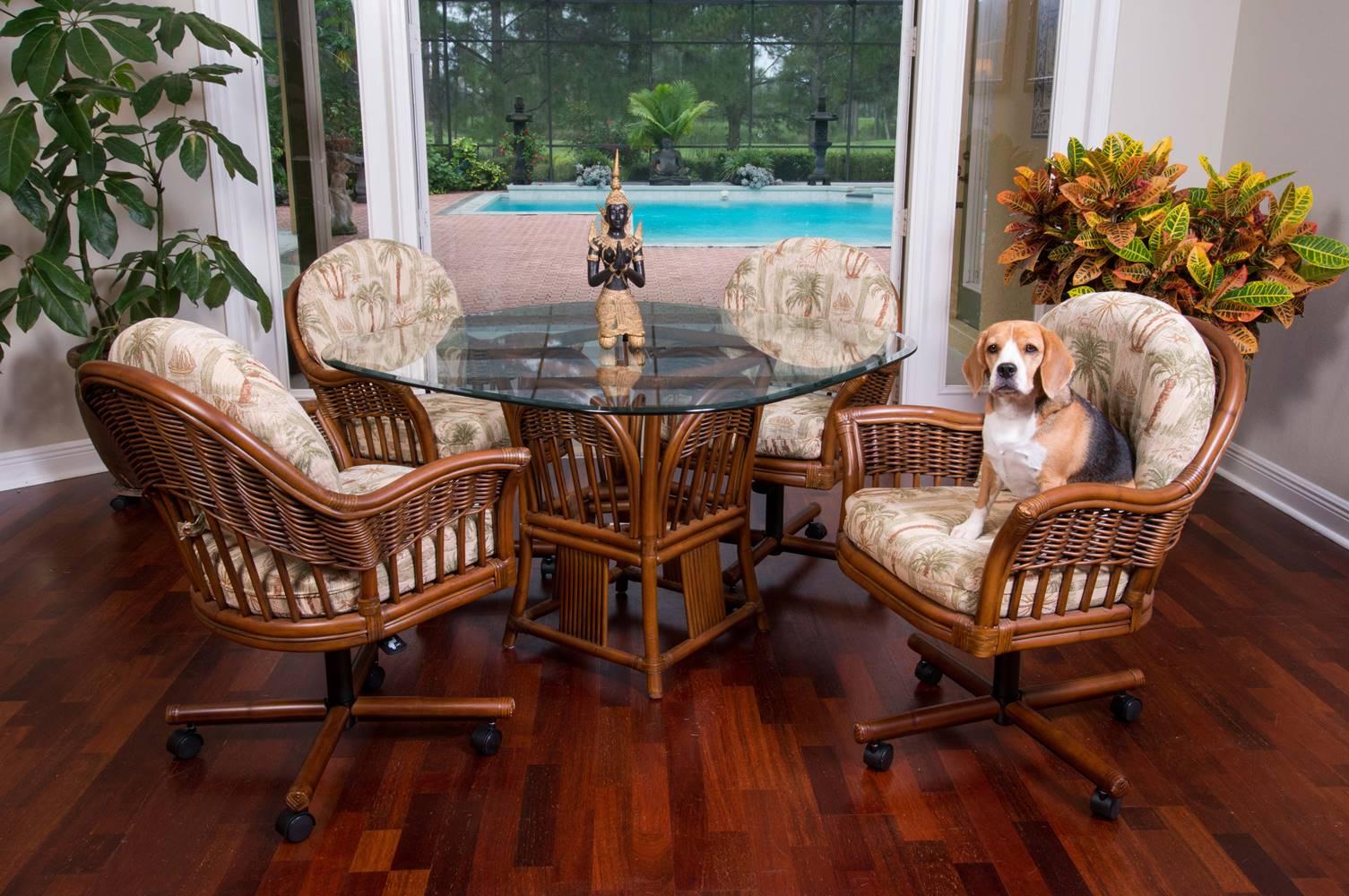 Bridgeport Tilt Swivel Caster Chair - Sienna Finish & Bridgeport Dining Set - Sienna Finish - Wicker One Imports - Your ...
