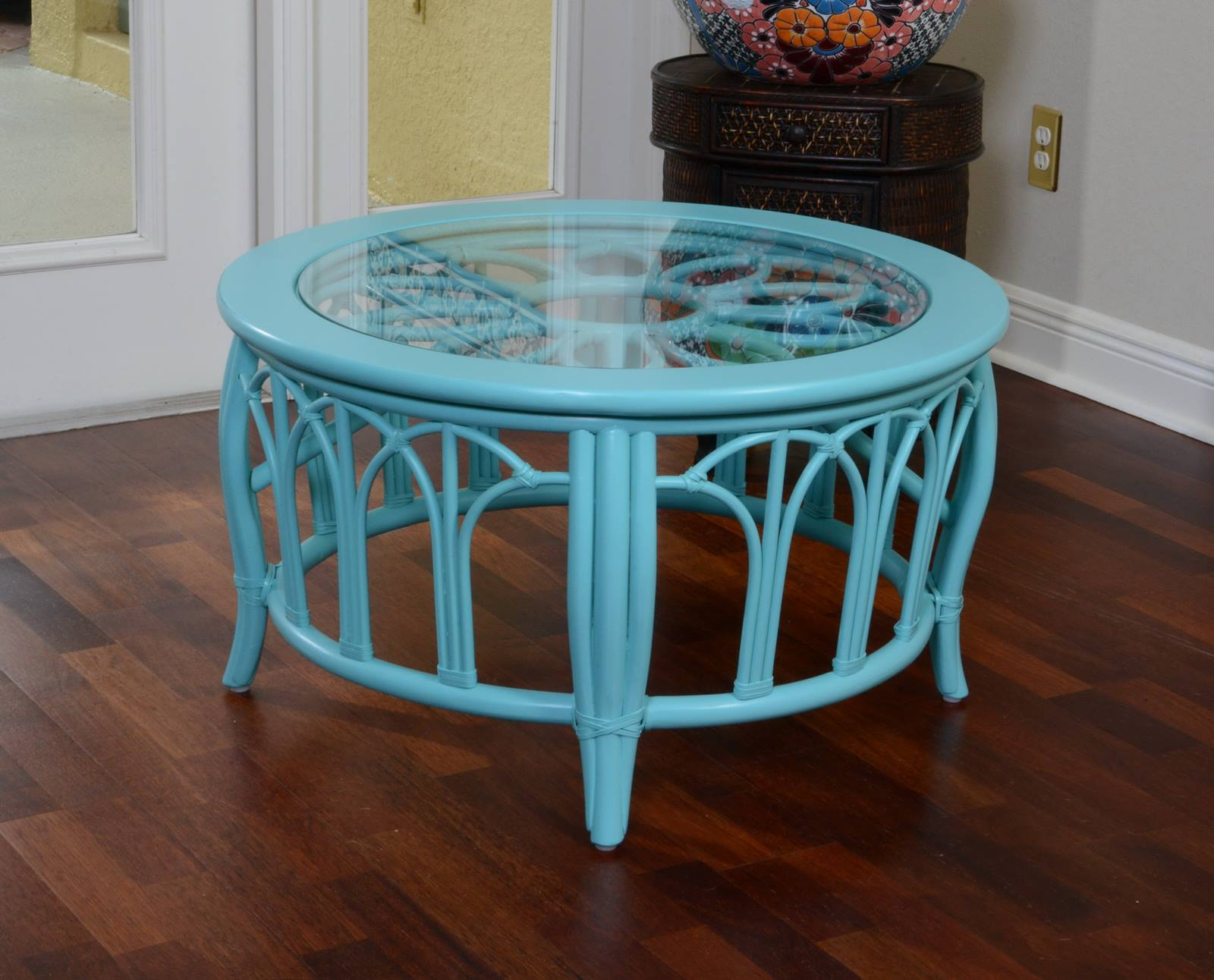 Cuba Round Cocktail Table With Glass Wicker One Imports Your Casual Furni