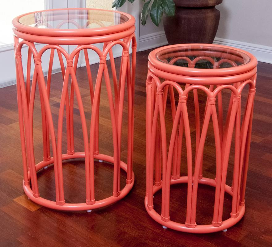Cuba Accent Tables Coral Set of 2 with Glass Wicker One  : Cuba Accent Table CORAL 20 from www.wickeroneimports.com size 880 x 800 jpeg 103kB