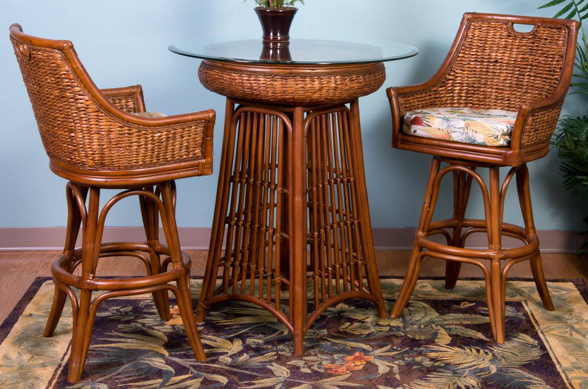 Havana Pub Table Antique Honey Finish Wicker One Imports Your Casual Furniture Store In