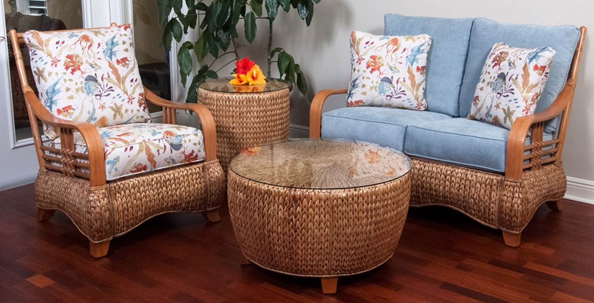 Key Largo Deep Seating Group - Antique Honey Finish - Key Largo Deep Seating Group - Antique Honey Finish - Wicker One