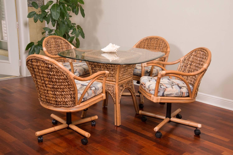 Panama Tilt Swivel Caster Chair Antique Honey Finish