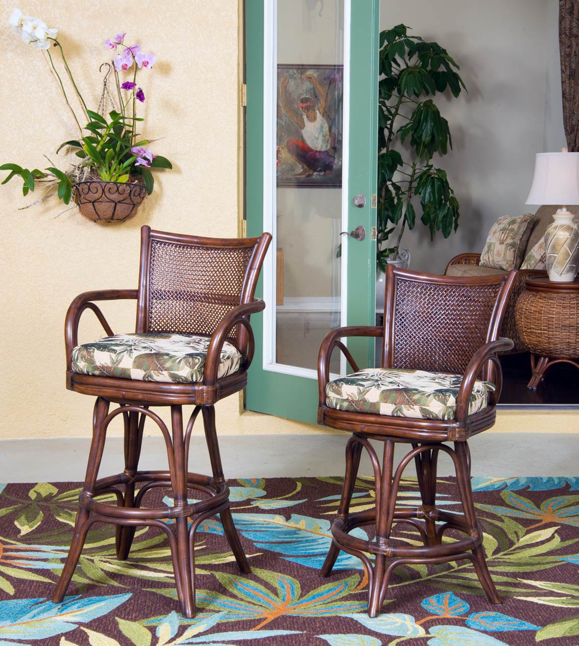 Singapore Barstool Java Finish Wicker One Imports Your Casual Furniture Store In Orlando