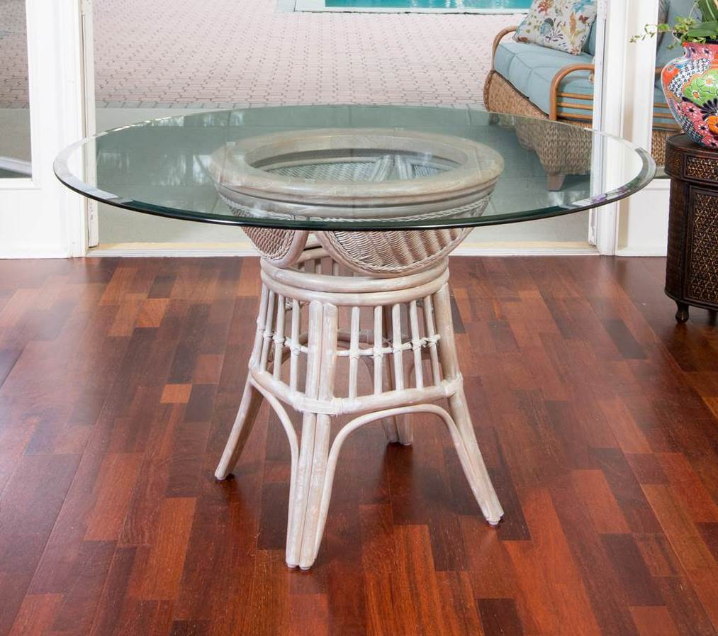 Bermuda Dining Round Table Base  Rustic Driftwood Finish